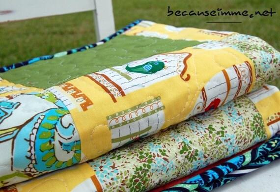 Girls bird quilt yellow baby quilt baby floor play mat for Floor quilt for babies