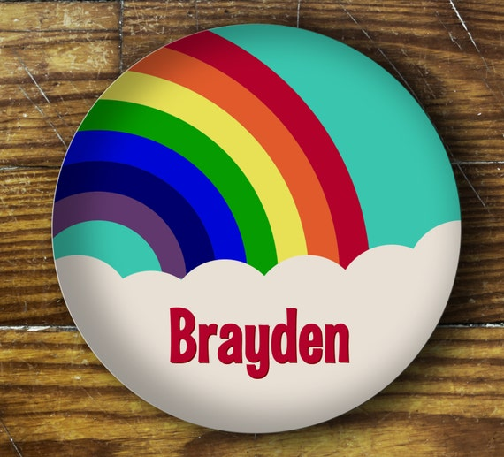 Personalized Dinner Plate or Bowl - Rainbow