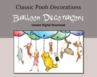 Classic Winnie the Pooh Balloon Decoration Instant Digital Download