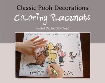 Classic Winnie the Pooh Instant Download Coloring Placemats