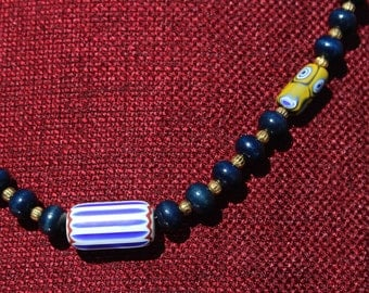 Necklace of blue and yellow
