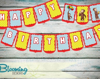 Curious George Happy Birthday Flag Pennant Bunting Banner