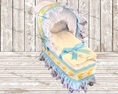 Diaper Bassinet - Diaper Carriage - Light Blue and Yellow Ducky Bubbles - Baby Shower Gift - Baby Shower Centerpiece