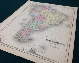 1867 South America - Brazil, Argentina, Venezuela, Columbia, Chile - Antique Map - Early hand colored!!!!!