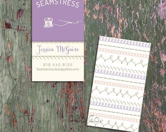 Pre Designed Business Card: seamstress, tailor, alterations
