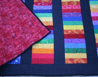 King quilt, bright rainbow strips