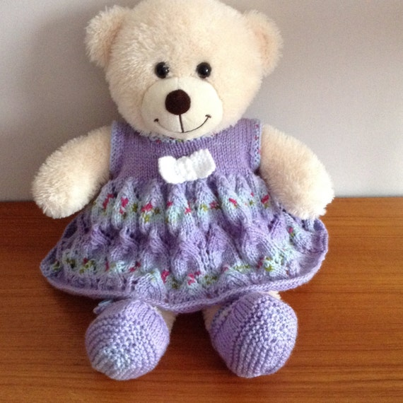 hand knitted teddy bear clothes dress set and shoes for