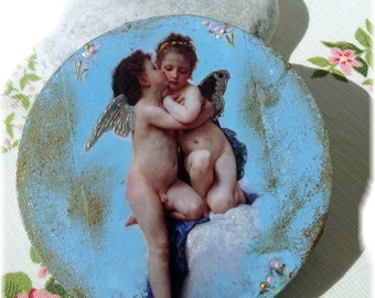 Angel Kiss Decoupage Art on Canvas