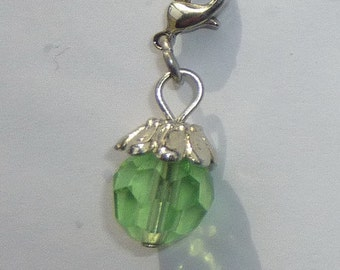 Dangle Green Faceted Dangle for Bracelets, Floating Charms, Necklaces & Keychains  D007