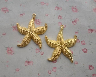 set of 50 , gold plated metal large starfish pendant , metal large starfish charm ,50x45mm--MPC3447-50