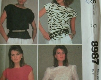 Misses Tops with Variations Size 8 Bust 31 1/2 Easy McCalls Make It Tonight Pattern 8987 Vintage Mccalls UNCUT PATTERN Dated 1984