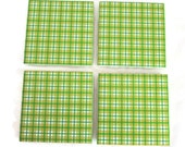 Ceramic tile coasters. Green, yellow and white plaid design with cork backing. Can be used with hot or cold drinks. St Patrick's Day decor.