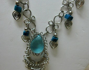 GET 15% OFF Peruvian Blue Alpaca Wire Wrapped Necklace #21