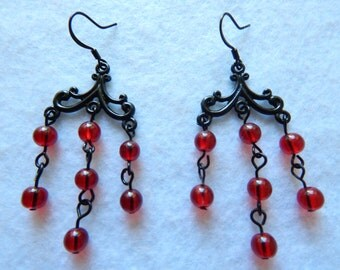 Red and Black Goth Chandelier Earrings