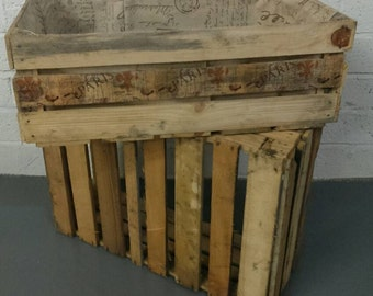 Wooden fruit crate. Lovely rustic fabric lined storage crate