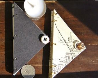 Triangular notebook / sketchbook / address book / journal with coptic stitch binding