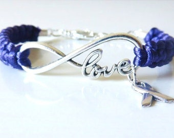 Purple Awareness Ribbon LOVE Charm Bracelet Pancreatic Cancer Alzheimers Dementia Crohns Disease Domestic Violence Foster Care Sarcoidosis