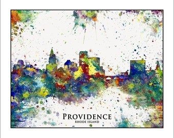 PROVIDENCE Skyline, Providence, RHODE ISLAND, Map of Providence, Map of Rhode Island, New England Map, Map of New England, Johnson & Wales