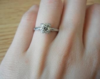 Platinum 3/4ct Diamond Solitaire Old Mine Cut Engagement Ring Size 5 1/4
