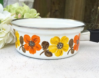 Vintage Floral Enamel Pot, Austria Email, Kitchen wares, sauce pan, stock, retro, orange yellow, mid century, 1970's