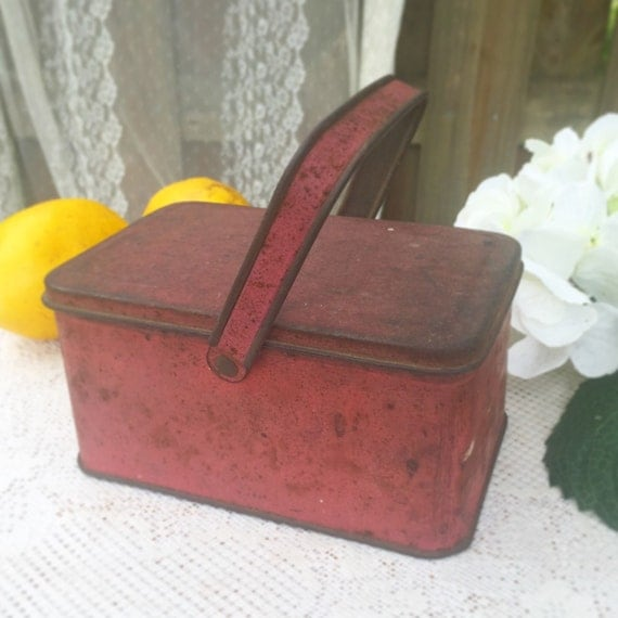Decorative Box Lunches : Red decorative tin basket lunch box pail w handle canister