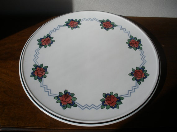 Art Deco Serving Platter Ceramic Cake Plate with Roses Made in