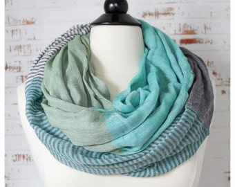 STORE CLOSING SALE Women Fashion Cotton Scarf  Infinity Loop Scarf Solid Color Spring Summer Scarf in Gray Dusty Green and Mint