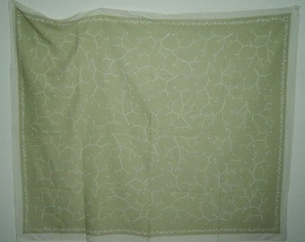 large Midcentury Modernist linen  tablecloth with palegreen abstract pattern