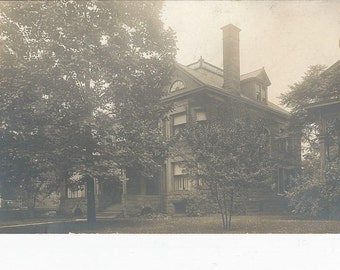1908 Vintage RPPC Postcard of A Beautiful Home Surrounded by Trees
