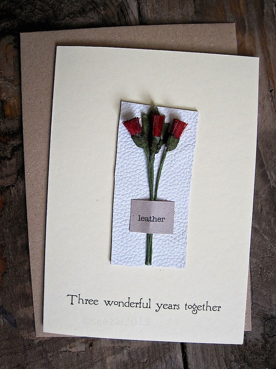 3rd Anniversary Leather Keepsake Card Traditional Gift For