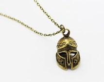 Medieval Knight Helmet Necklace, Antique Bronze Charm, Jewelries, Bronze,Sparta Knight Helmet Necklace,Punk Rock,Unisex Men Necklace,Cosplay