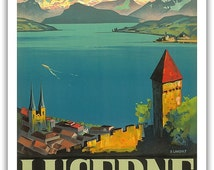 Swiss Alps Lucerne Switzerland  Travel Poster Fine Art Giclee Print With  Mounted Canvas Option