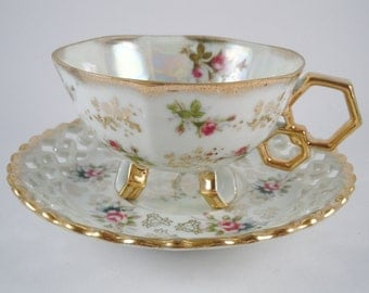 Teacup and Saucer Set Beautiful Fan Crest Fine China . Hand Painted