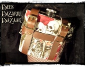 Ladies Leg Garter and Hip Flask 6oz - Skeleton - Wedding Burlesque Rockabilly Cosplay