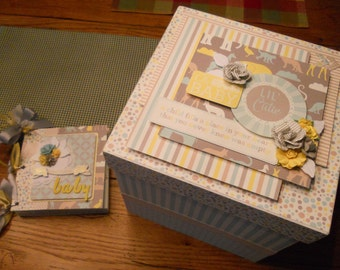 Baby boy chipboard keepsake box and chipboard mini album