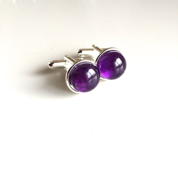 Genuine Amethyst Cuff Links ~ Sterling Silver Plated ~ A+++ Stones ~ 12mm