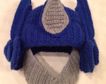 Pattern for Crocheted Robot Hat inspired by Transformers Optimus Prime for size Child, Teen, Adult and Newborn!