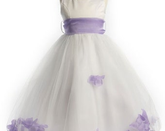 Beautiful Floating Petals Flower Girl Dress with Organza Sash