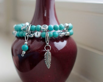 Nursing Bracelet / Breastfeeding Bracelet - Add an EXTRA CHARM! - New Mom Gift / Baby Shower Gift - Feather charm - Boho - Silver Feather