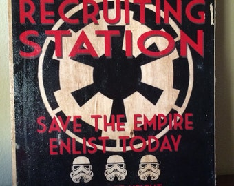 "Imperial Recruiting Station vintage sign. 8"" x 10"" on birch"