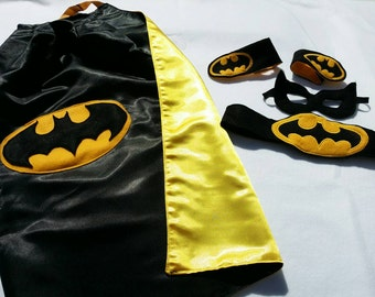 Batman Super Hero Set- cape, mask, armbands and belt.
