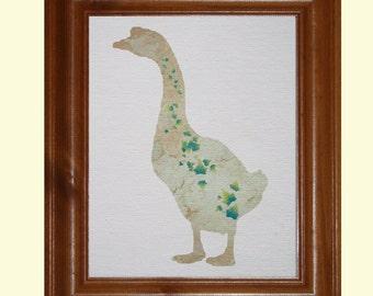 Goose Print, 100% Cotton Canvas Ivy Print Goose, Cottage Chic Decor, Green Gray Bird, Fabric Art, Bird Wall Art