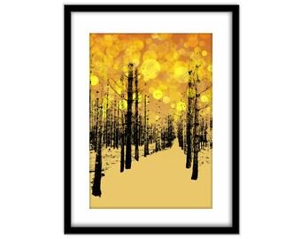 Printable Poster Art, Abstract Forest Instant Download, Golden Bokeh, Modern Wall Art, Golden Yellow Home Decor