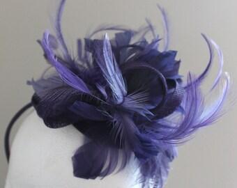 SALE Purple Feather Fascinator