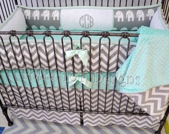 Elephant  Gray & Mint Baby Bedding Perfect for a gender neutral nursery