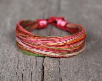 Multicolor bracelet, beaded bracelet, delicate bracelet, linen jewelry, summer jewelry, 2015 trends, gift for friend, girlfriend, daughter