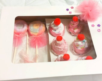 Cute baby cupcake onsies and washcloth lollipops