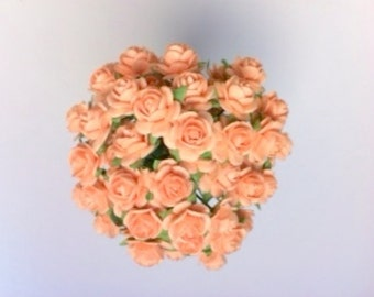50 Peach Mulberry Paper Roses 10mm (1 cm)