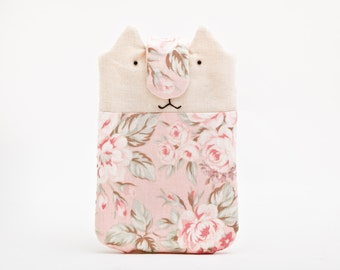 Floral iPhone case, iPhone 6 case, iPhone sleeve, Cat, Mobile phone pouch, iPhone 5 Case
