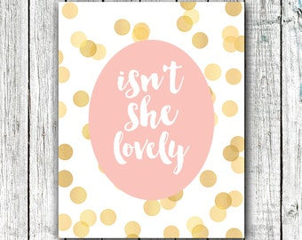 Nursery Printable // Baby Girl Nursery // Printable Art // Isn't She Lovely // Instant Download // Size 8x10 #325